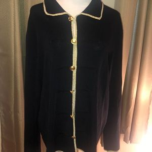 Dress Barn Black Gold Cardigan 22 24 Button